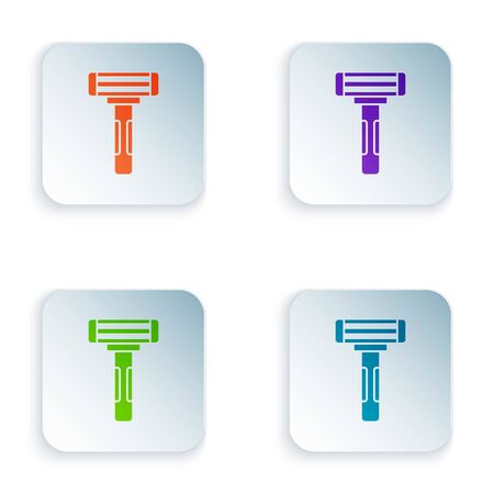 Color Shaving razor icon isolated on white background. Set icons in square buttons. Vector Illustration
