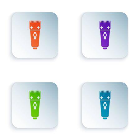 Icône de tondeuse à cheveux ou de rasoir électrique couleur isolé sur fond blanc. Symbole du salon de coiffure. Définir des icônes dans des boutons carrés. Illustration vectorielle Vecteurs