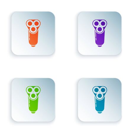 Color Electric razor blade for men icon isolated on white background. Electric shaver. Set icons in square buttons. Vector Illustration