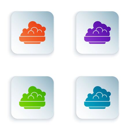 Color Shaving gel foam icon isolated on white background. Shaving cream. Set icons in square buttons. Vector Illustration