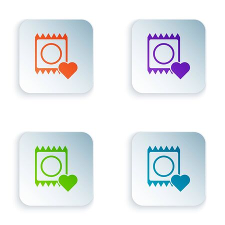 Color Condom in package icon isolated on white background. Safe love symbol. Contraceptive method for male. Set icons in square buttons. Vector Illustration Ilustrace