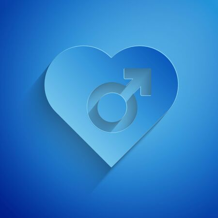 Paper cut Heart with male gender symbol icon isolated on blue background. Paper art style. Vector Illustration