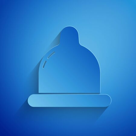 Paper cut Condom icon isolated on blue background. Safe love symbol. Contraceptive method for male. Paper art style. Vector Illustration