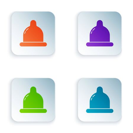 Color Condom icon isolated on white background. Safe love symbol. Contraceptive method for male. Set icons in square buttons. Vector Illustration