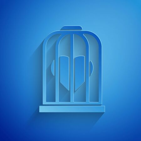 Paper cut Heart in the bird cage icon isolated on blue background. Love sign. Valentines symbol. Paper art style. Vector Illustration