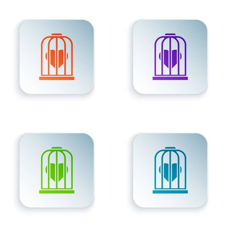Color Heart in the bird cage icon isolated on white background. Love sign. Valentines symbol. Set icons in square buttons. Vector Illustration