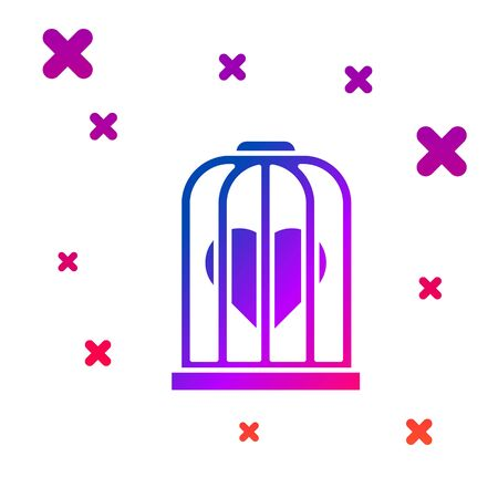 Color Heart in the bird cage icon isolated on white background. Love sign. Valentines symbol. Gradient random dynamic shapes. Vector Illustration