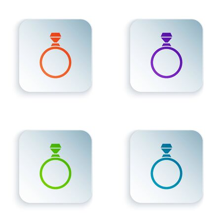 Color Diamond engagement ring icon isolated on white background. Set icons in square buttons. Vector Illustration