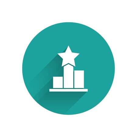 White Star icon isolated with long shadow. Favorite, score, best rating, award symbol. Green circle button. Vector Illustration  イラスト・ベクター素材