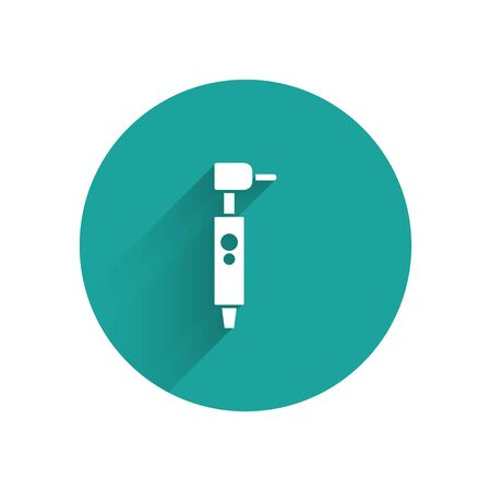 White Tooth drill icon isolated with long shadow. Dental handpiece for drilling and grinding tools. Green circle button. Vector Illustration Illustration