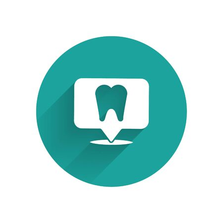 White Dental clinic location icon isolated with long shadow. Green circle button. Vector Illustration
