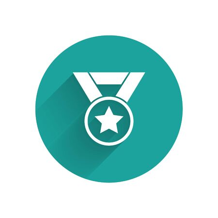 White Medal icon isolated with long shadow. Winner symbol. Green circle button. Vector Illustration