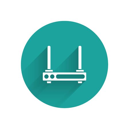 White Router and wifi signal symbol icon isolated with long shadow. Wireless modem router. Computer technology internet. Green circle button. Vector Illustration Illustration