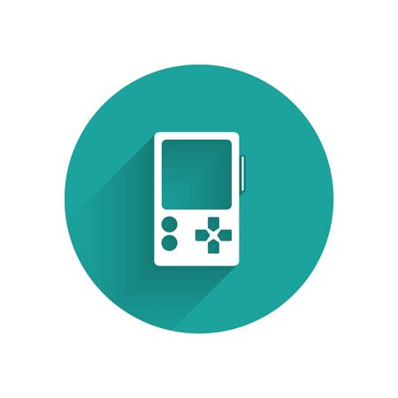 White Portable video game console icon isolated with long shadow. Gamepad sign. Gaming concept. Green circle button. Vector Illustration