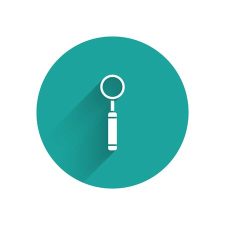 White Dental inspection mirror icon isolated with long shadow. Tool dental checkup. Green circle button. Vector Illustration