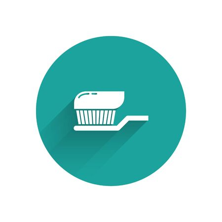 White Toothbrush with toothpaste icon isolated with long shadow. Green circle button. Vector Illustration