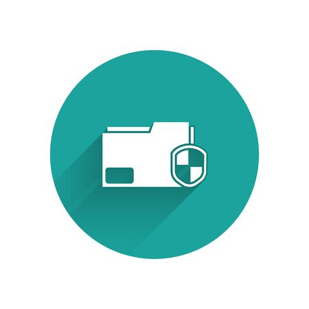 White Document folder protection concept icon isolated with long shadow. Confidential information and privacy idea, guard, shield. Green circle button. Vector Illustration Illusztráció