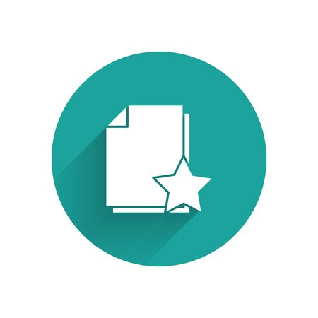 White Document with star icon isolated with long shadow. Document best, favorite, rating symbol. Green circle button. Vector Illustration  イラスト・ベクター素材