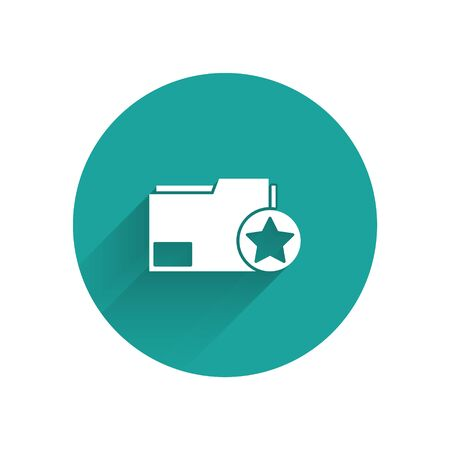 White Document folder with star icon isolated with long shadow. Document best, favorite, rating symbol. Green circle button. Vector Illustration