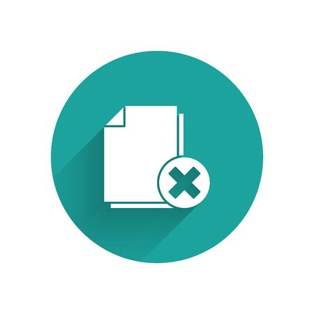 White Delete file document icon isolated with long shadow. Rejected document icon. Cross on paper. Green circle button. Vector Illustration Illusztráció
