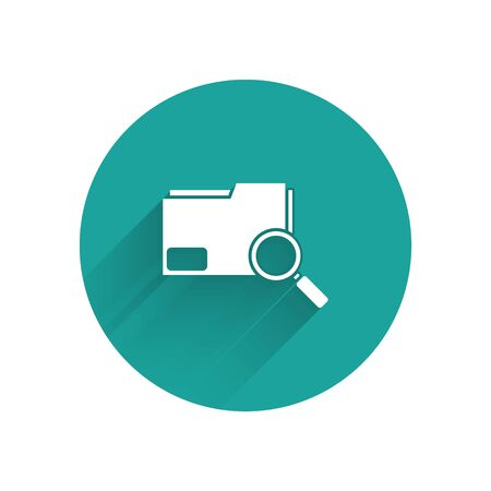 White Search concept with folder icon isolated with long shadow. Magnifying glass and document. Data and information sign. Green circle button. Vector Illustration Ilustração