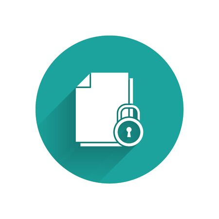 White Document and lock icon isolated with long shadow. File format and padlock. Security, safety, protection concept. Green circle button. Vector Illustration Illusztráció