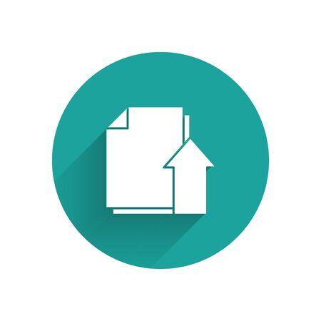 White Upload file document icon isolated with long shadow. Document arrow. Green circle button. Vector Illustration Vektoros illusztráció