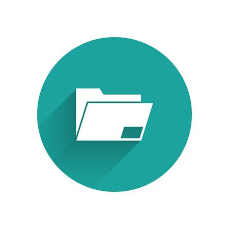 White Document folder icon isolated with long shadow. Accounting binder symbol. Bookkeeping management. Green circle button. Vector Illustration