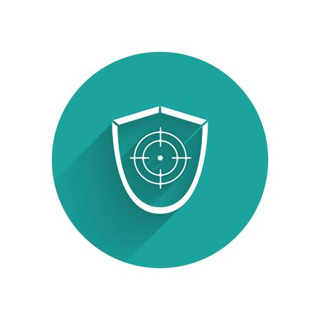 White Target sport icon isolated with long shadow. Clean target with numbers for shooting range or shooting. Green circle button. Vector Illustration
