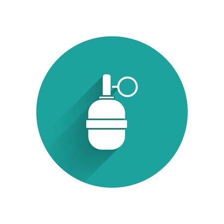 White Hand grenade icon isolated with long shadow. Bomb explosion. Green circle button. Vector Illustration