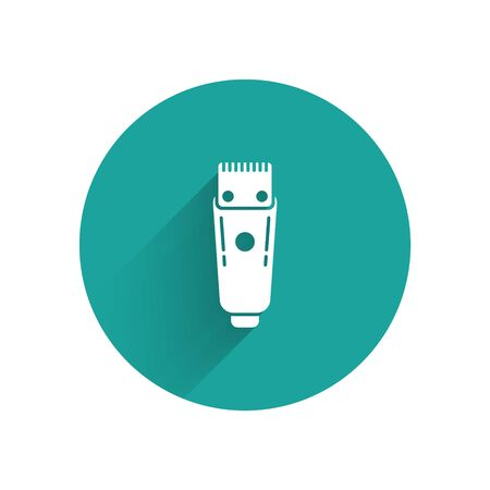 White Electrical hair clipper or shaver icon isolated with long shadow. Barbershop symbol. Green circle button. Vector Illustration