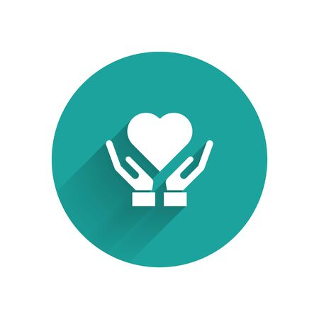 White Heart on hand icon isolated with long shadow. Hand giving love symbol. Valentines day symbol. Green circle button. Vector Illustration