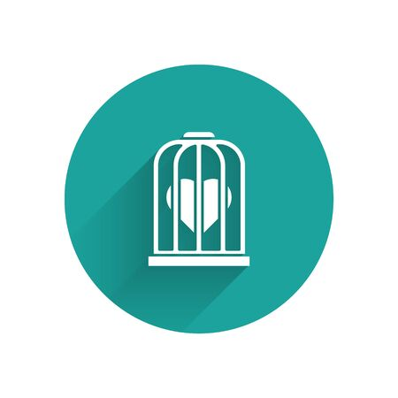 White Heart in the bird cage icon isolated with long shadow. Love sign. Valentines symbol. Green circle button. Vector Illustration