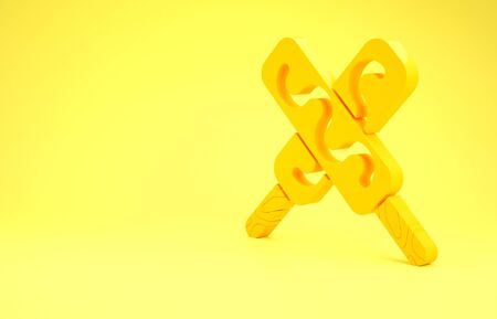 Yellow Ice cream icon isolated on yellow background. Sweet symbol. Minimalism concept. 3d illustration 3D render