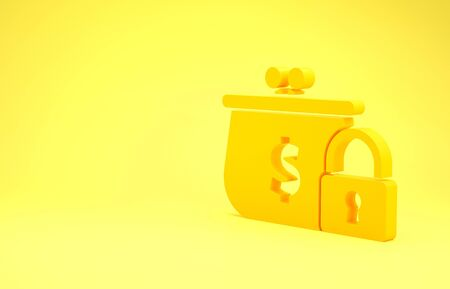 Yellow Closed wallet with lock icon isolated on yellow background. Locked wallet. Security, safety, protection concept. Concept of a safe payment. Minimalism concept. 3d illustration 3D render Banco de Imagens