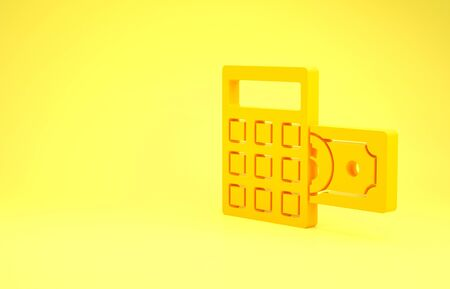 Yellow Calculator with dollar symbol icon isolated on yellow background. Money saving concept. Accounting symbol. Minimalism concept. 3d illustration 3D render Banco de Imagens