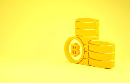 Yellow Cryptocurrency coin Bitcoin icon isolated on yellow background. Blockchain technology, bitcoin, digital money market, cryptocoin wallet. Minimalism concept. 3d illustration 3D render Banco de Imagens