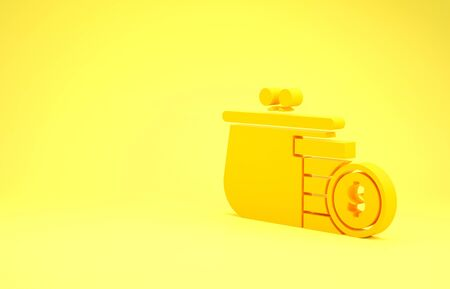 Yellow Wallet with coins icon isolated on yellow background. Purse icon. Cash savings symbol. Minimalism concept. 3d illustration 3D render