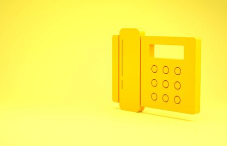 Yellow Telephone icon isolated on yellow background. Landline phone. Minimalism concept. 3d illustration 3D render Foto de archivo - 137394608