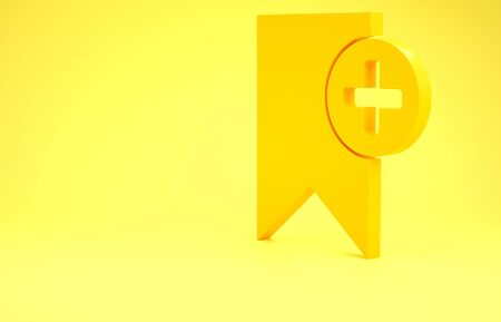 Yellow Bookmark icon isolated on yellow background. Add to concept. Minimalism concept. 3d illustration 3D render 写真素材