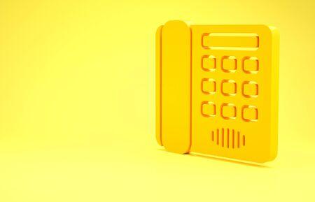 Yellow Telephone icon isolated on yellow background. Landline phone. Minimalism concept. 3d illustration 3D render Foto de archivo - 137394246