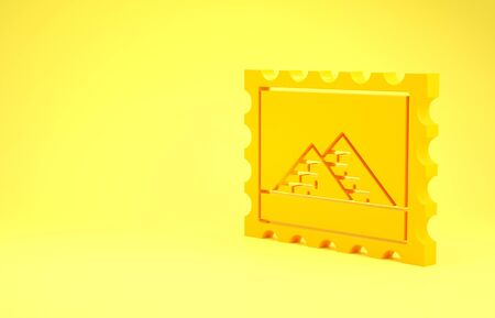 Yellow Postal stamp and Egypt pyramids icon isolated on yellow background. Minimalism concept. 3d illustration 3D render