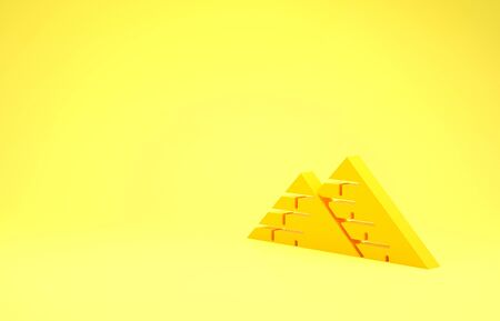 Yellow Egypt pyramids icon isolated on yellow background. Symbol of ancient Egypt. Minimalism concept. 3d illustration 3D render