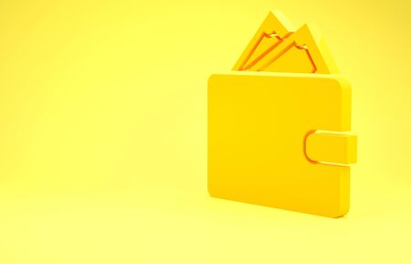 Yellow Wallet with stacks paper money cash icon isolated on yellow background. Purse icon. Cash savings symbol. Minimalism concept. 3d illustration 3D render
