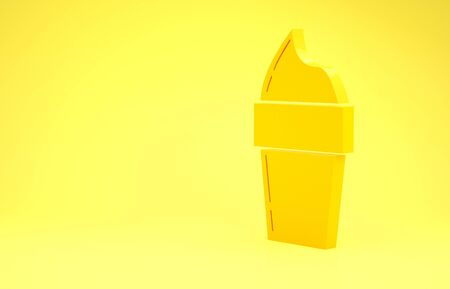 Yellow Ice cream in waffle cone icon isolated on yellow background. Sweet symbol. Minimalism concept. 3d illustration 3D render