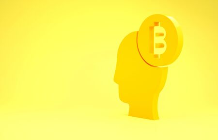 Yellow Bitcoin think icon isolated on yellow background. Cryptocurrency head. Blockchain technology, digital money market, cryptocoin wallet. Minimalism concept. 3d illustration 3D render Banco de Imagens