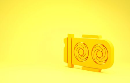 Yellow Mining farm icon isolated on yellow background. Cryptocurrency mining, blockchain technology, digital money market, cryptocoin wallet. Minimalism concept. 3d illustration 3D render