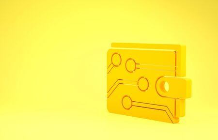 Yellow Cryptocurrency wallet icon isolated on yellow background. Wallet and bitcoin sign. Mining concept. Money, payment, cash, pay icon. Minimalism concept. 3d illustration 3D render Banco de Imagens