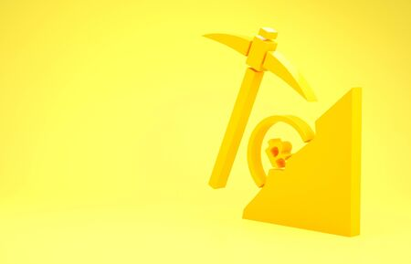 Yellow Cryptocurrency cloud mining icon isolated on yellow background. Cloud with pickaxe, bitcoin, digital money market, cryptocoin wallet. Minimalism concept. 3d illustration 3D render Banco de Imagens