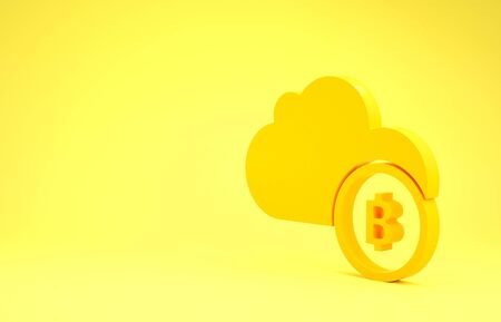 Yellow Cryptocurrency cloud mining icon isolated on yellow background. Blockchain technology, bitcoin, digital money market, cryptocoin wallet. Minimalism concept. 3d illustration 3D render Banco de Imagens